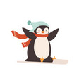 smiling cartoon cute penguin in warm hat and scarf vector image