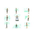 smiling people using virtual reality technology vector image vector image