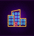 tall building neon sign vector image vector image