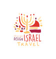 travel to israel logo with hanukkah candles vector image vector image