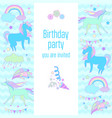 unicorn holiday card with fireworks clouds and vector image vector image