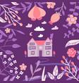 warm spring night in village hand drawn vector image vector image