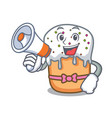 with megaphone easter cake character cartoon vector image vector image