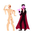 young man dressed in halloween party costumes vector image vector image