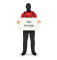 Worker man with blank sign for vector image