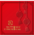 2020 chinese greeting card with hanging emblem vector image