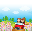 A red car with a young girl and boy vector image