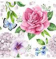 apple tree roses hydrangea flowers petals vector image vector image