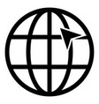 arrow on earth grid globe internernet concept vector image vector image