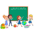 back to school school board and cute children vector image