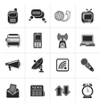 Black Communication and connection icons vector image