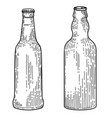 bottles beer in engraving style design element vector image