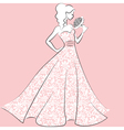 bride in lace wedding dress vector image