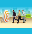 businessmen aiming a dart on the target vector image vector image