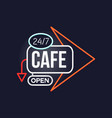 cafe open 24 7 retro neon sign vintage bright vector image vector image