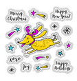 cartoon sticker christmas stickers doodle icons vector image vector image