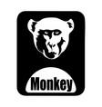 chinese calendar animal monochrome logotype monkey vector image