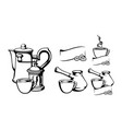coffee set with a cup black and white vector image vector image