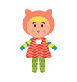 cute cartoon colorful baby doll toy vector image vector image