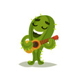 cute humanized cactus singing song and playing vector image