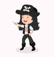 Cute kid girl character in pirate costume