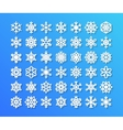Cute snowflake collection isolated on blue vector image vector image