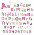 cute textile font patterns under clipping mask vector image vector image