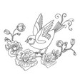 decorative song bird with flowers vector image vector image