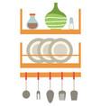 dishware on shelf kitchen appliances cook vector image