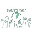 earth day background with hands raised to globe vector image vector image