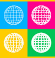 earth globe sign four styles of icon on four vector image vector image