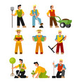 flat design farmers set vector image vector image