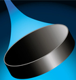 flying hockey puck to the right on a dark blue ice vector image vector image