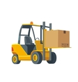 Forklift carries a box Wide flat vector image vector image