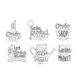 garden shop organic product hand drawn badges set vector image vector image