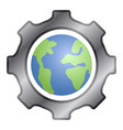gear piece with our planet earth vector image