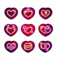 glowing neon valentine hearts sticker pack vector image