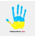 Handprint with the Ukrainian flag in grunge style vector image vector image