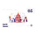 happy people celebrating xmas party website vector image vector image
