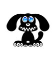 happy puppy dog silhouette vector image