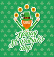 happy st patricks day leprechaun with gold coins vector image vector image