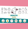 healthy lifestyle line icons set vector image vector image