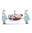 injured cyclist broken bike and two physicians il vector image