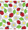 ladybug flowers and leaves seamless pattern vector image