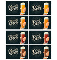 male hand holding a glass with four types beer vector image vector image