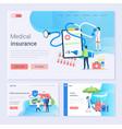 medical insurance and online service set website vector image