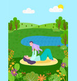 mother playing with newborn toddler boy on nature vector image vector image