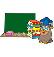 owl teacher with books and blackboard vector image