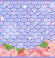 pastel mermaid scale pattern with many flowers vector image