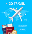 realistic 3d detailed airplane and go travel vector image vector image